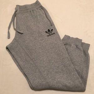 Adidas Gray Cotton Blend Jogger Sweatpants